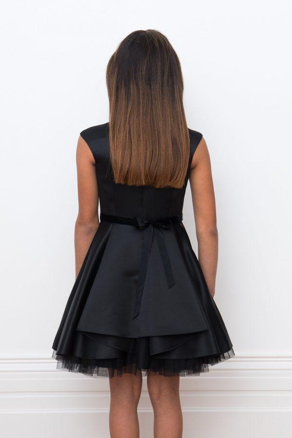 black satin heart gown