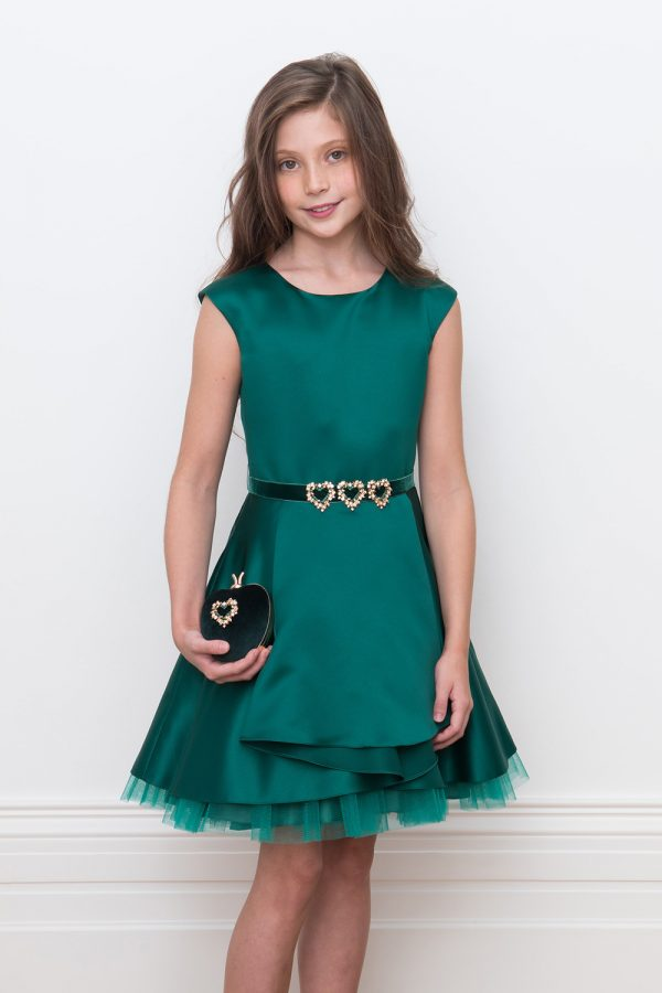 jewel green satin party gown