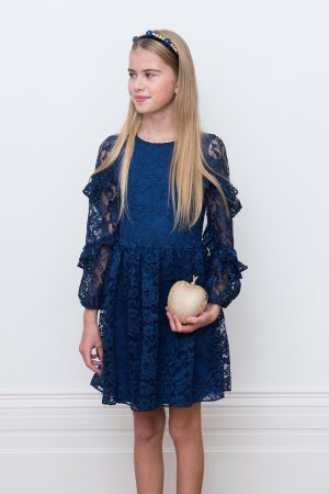 navy lace ruffle sleeve gown