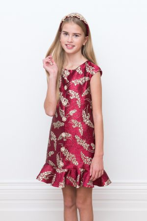festive red brocade party dress