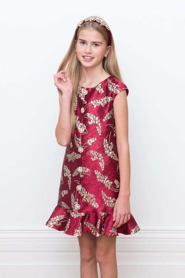 dedc5eb3bf56 Slavnostní Red Brocade Party šaty - David Charles Dětské oblečení
