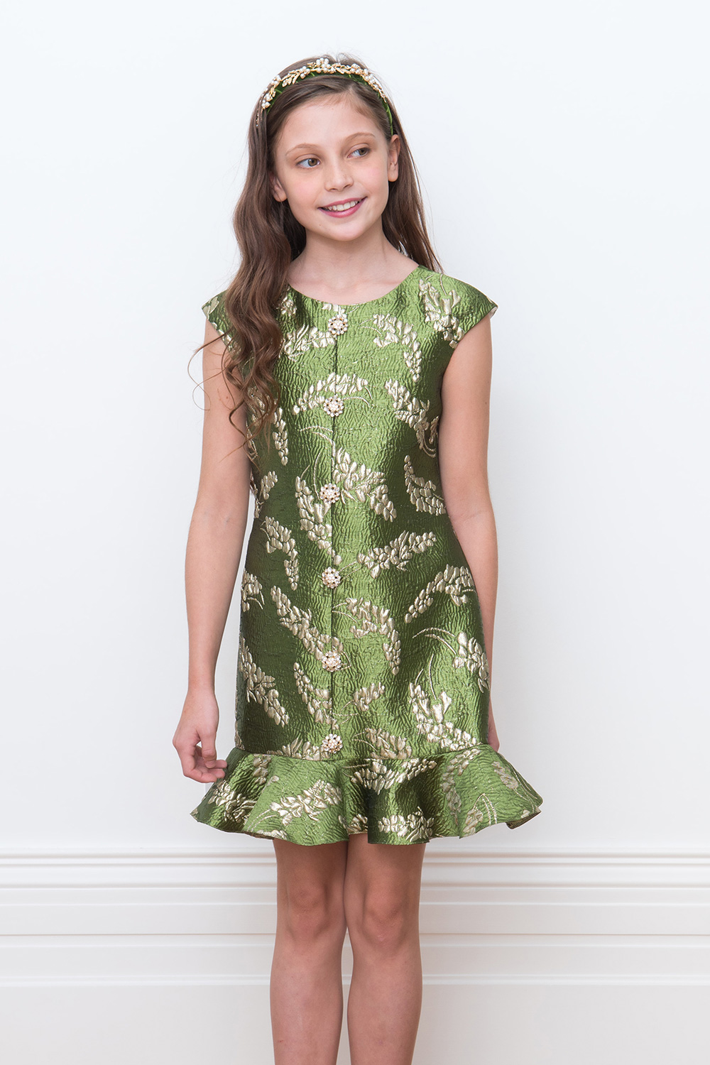 green damask party gown