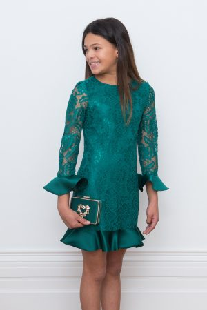 green lace elegant dress
