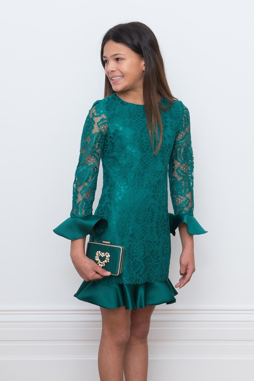 7cd41e23ee5e Πράσινο φόρεμα με δαντέλα - David Charles Παιδικά ενδύματα
