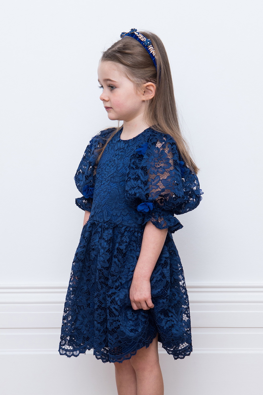 navy floral lace evening dress
