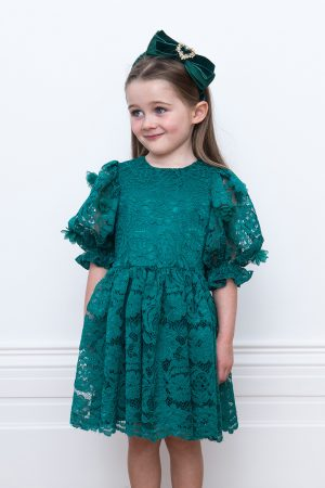 emerald green lace party dress