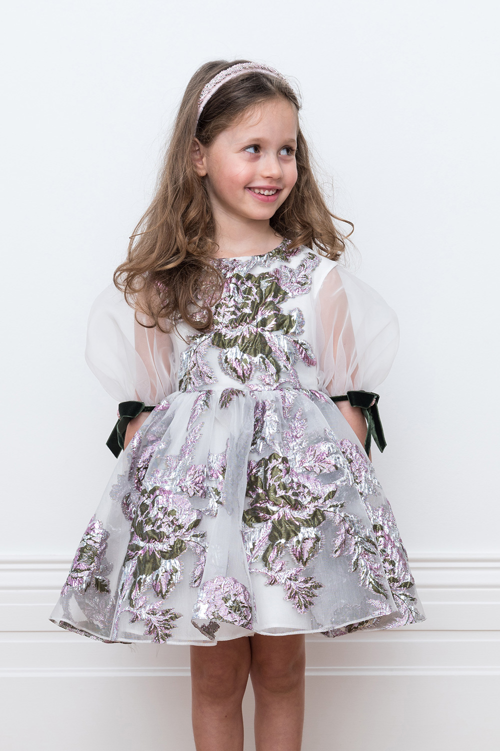 ivory floral ball gown