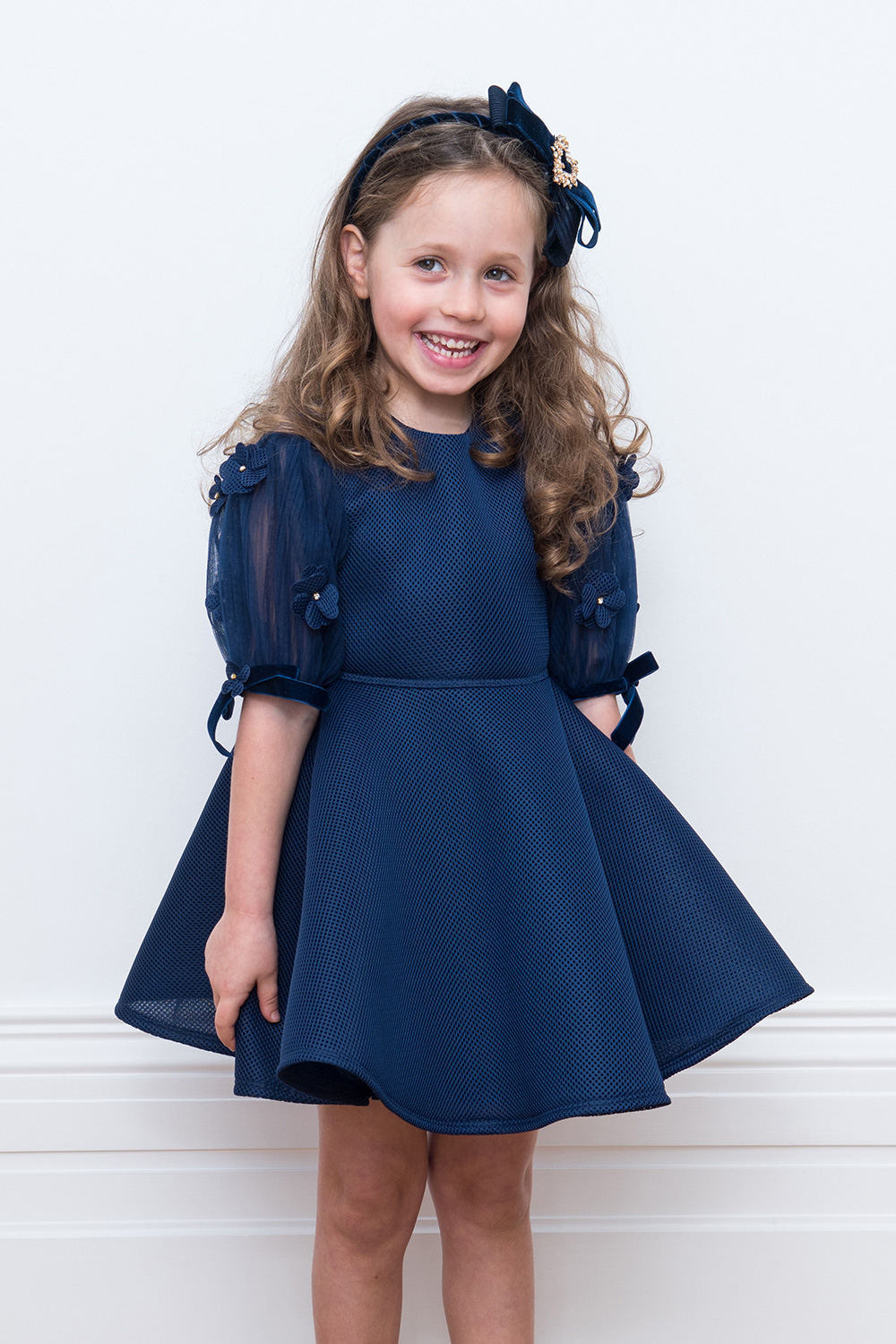 48c1b6e8 Navy Blue Flower Girl Dress - David Charles Childrens Wear
