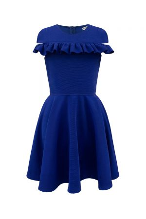 royal blue Bardot ruffle dress