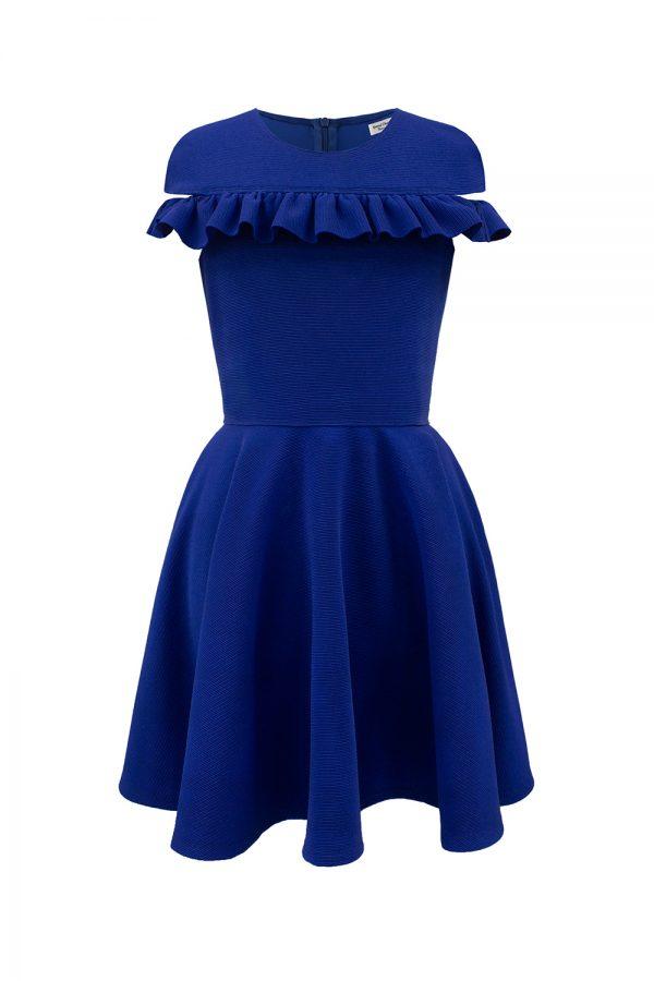 royal blue Bardot ruffle dress