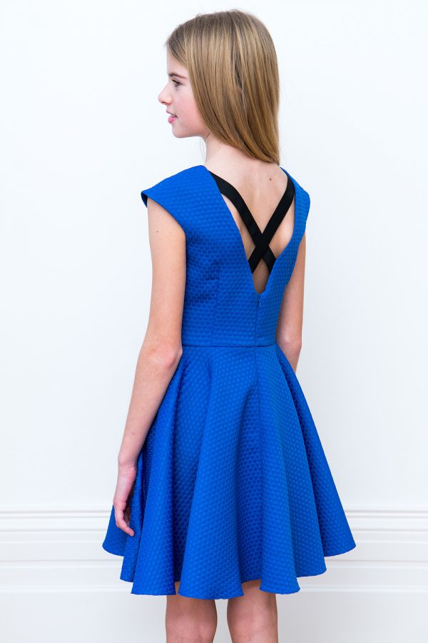royal blue contrast prom dress