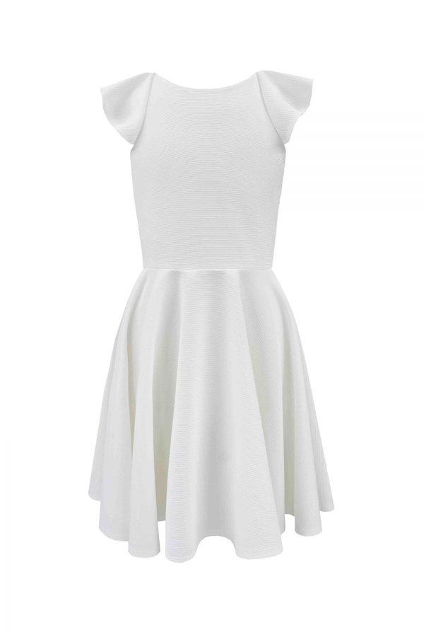 ivory frill back bridesmaid dress