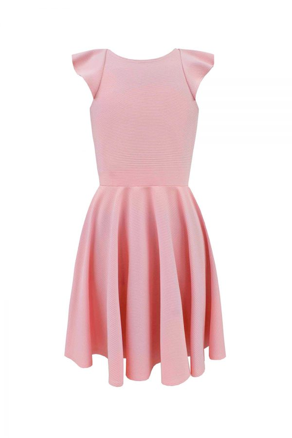 blush pink ruffle prom dress