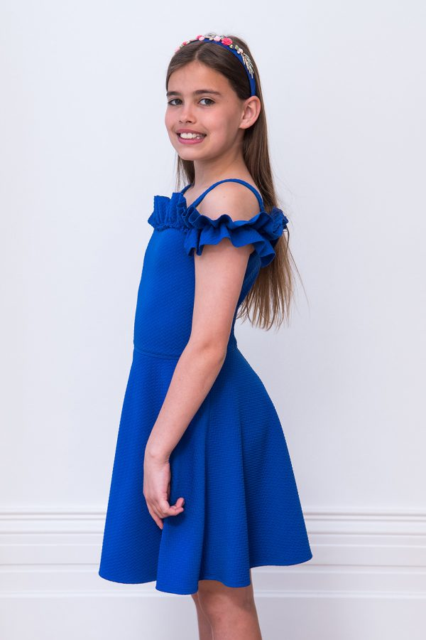 royal blue Bardot birthday dress