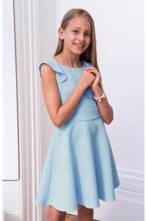 pastel blue frill back dress