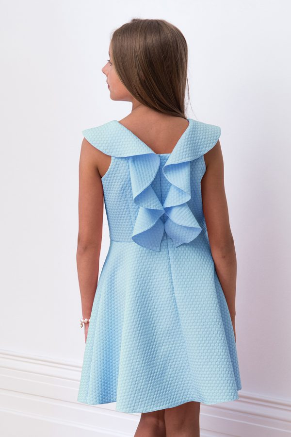 pastel blue frill back dress
