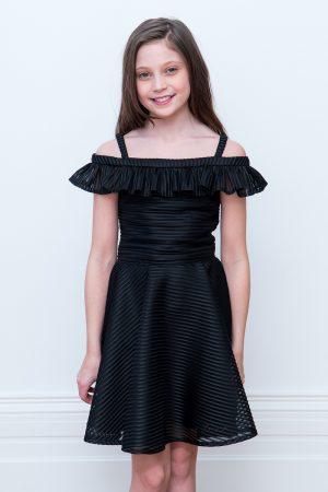 black Bardot bridesmaid dress