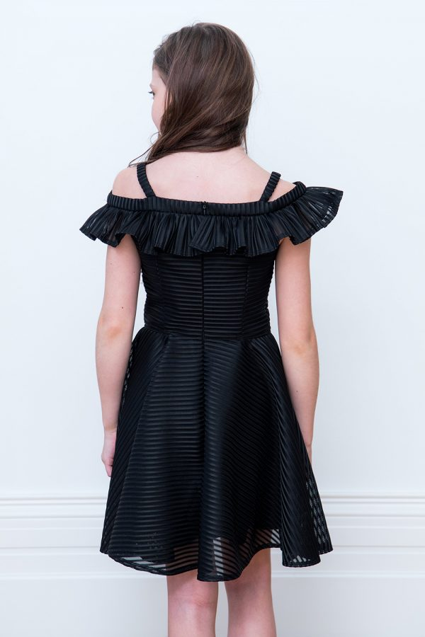 black Bardot bridesmaid dress