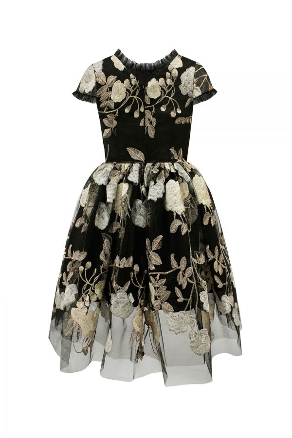 black floral ball gown