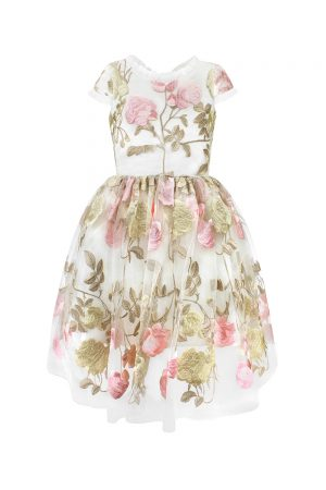 ivory and pink floral party gown