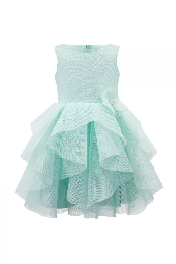 turquoise waterfall ruffle gown