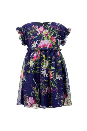 royal blue floral tea dress