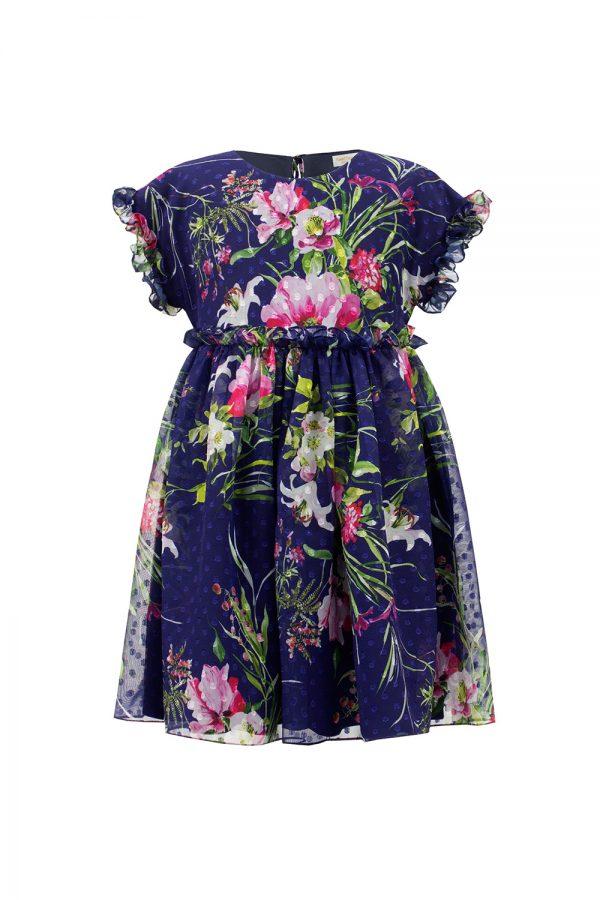 royal blue floral tea dress