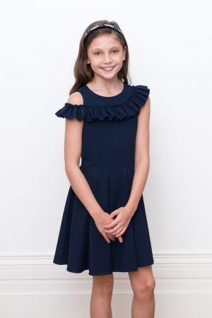 navy asymmetric ruffle dress