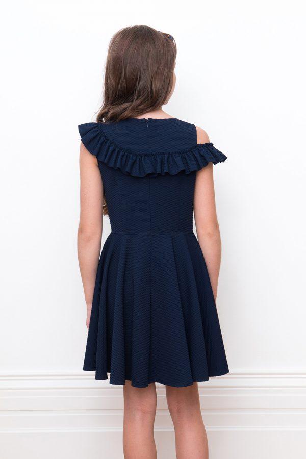 navy asymmetric ruffle dress
