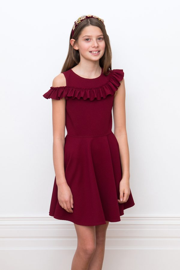 Bordeaux one sleeve ruffle dress