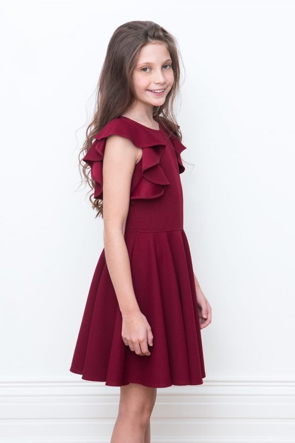 wine ruffle formal dress