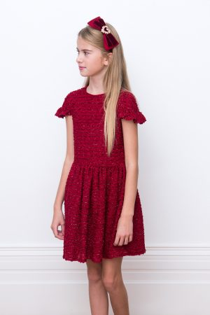 cherry boucle party dress