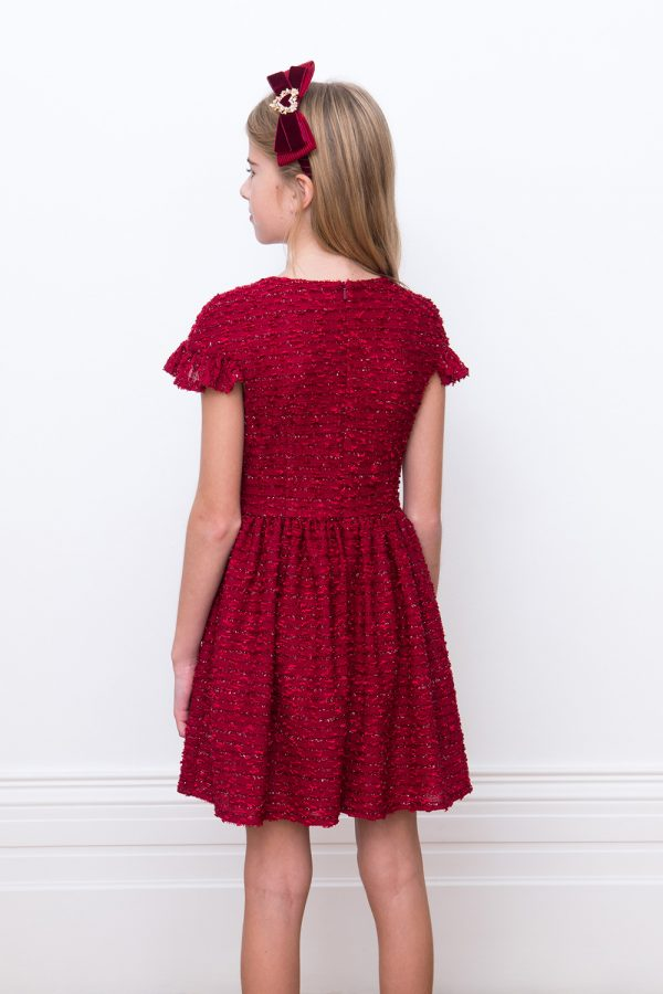 cherry boucle party dress