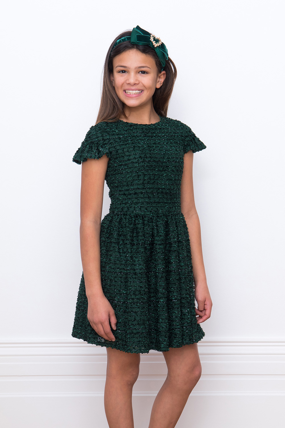festive green boucle gown