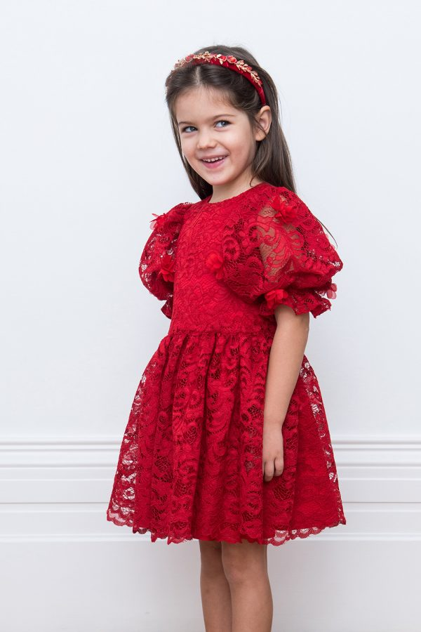 red lace holiday gown