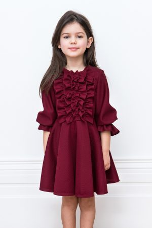 wine layered ruffle dress