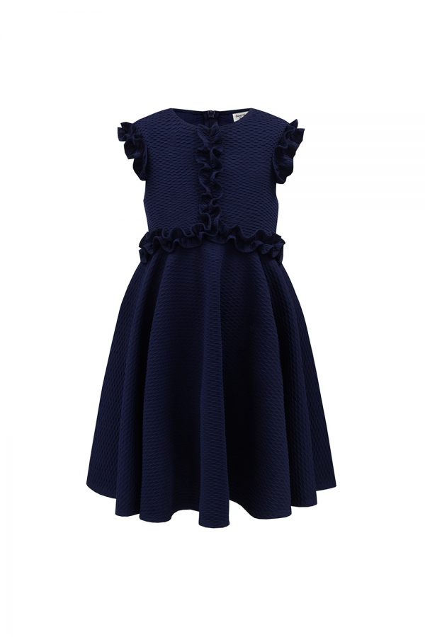 navy blue ruffle trim dress