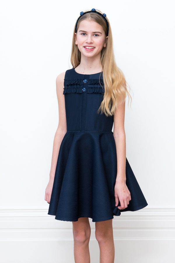 embellished navy prom dress