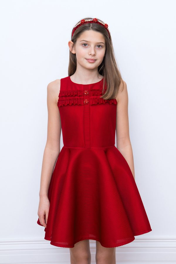 red jewelled prom gown