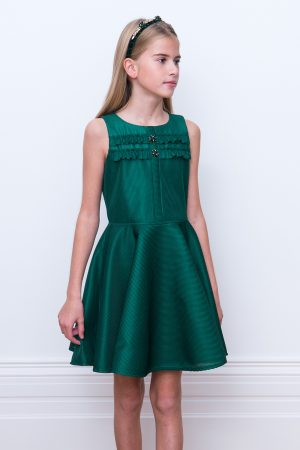 green jewelled party dress