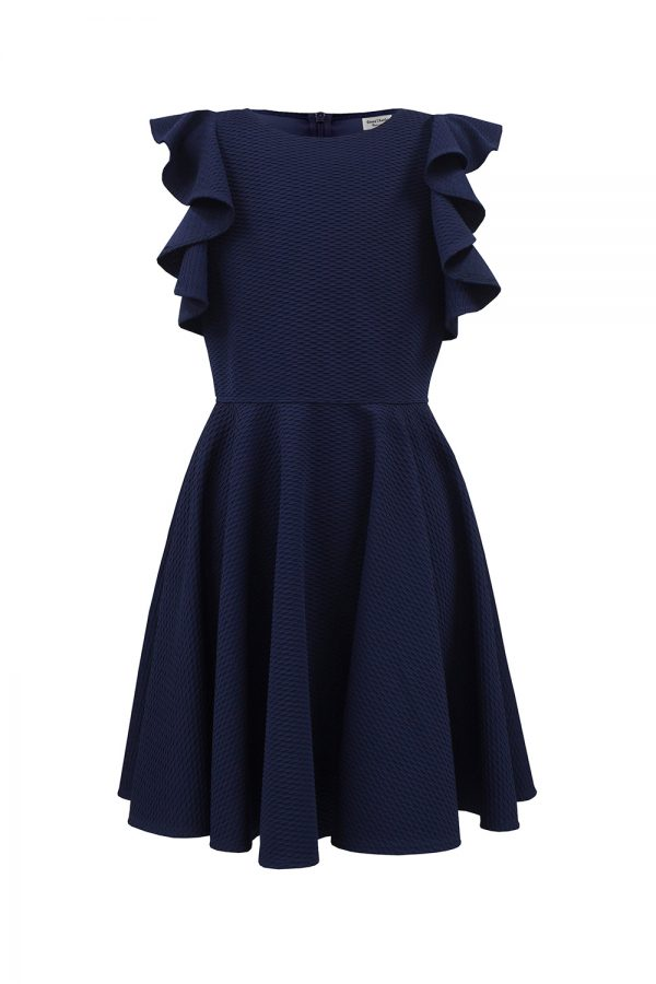navy waterfall frill dress