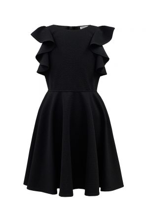 black waterfall frill dress
