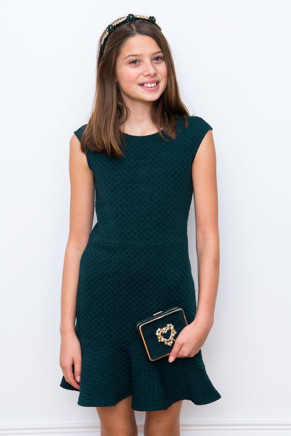 green flared hem dress