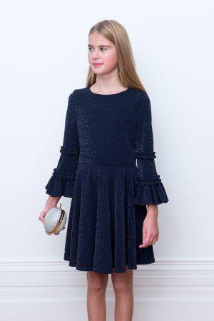 navy blue trumpet sleeve dress