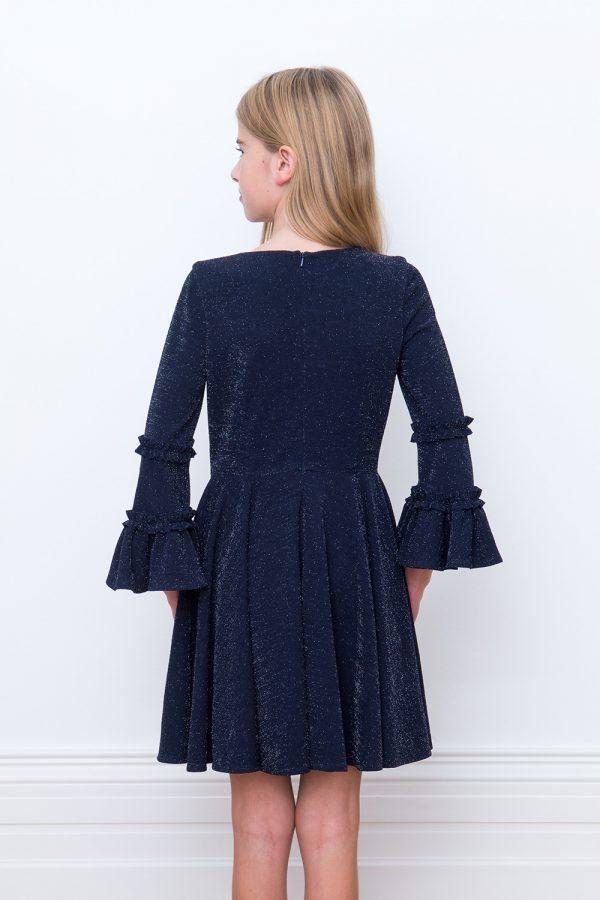 navy blue trumpet sleeve dress