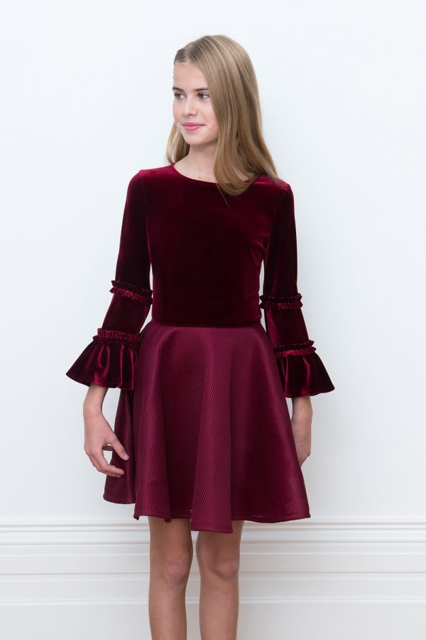 Wine Velvet Princess Gown