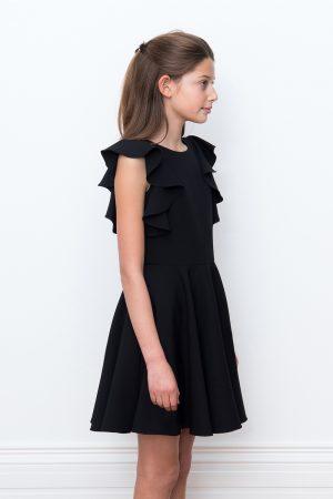 black waterfall luxury dress