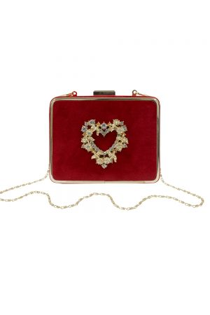 red velvet heart box bag