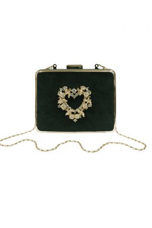 green velvet gold heart bag