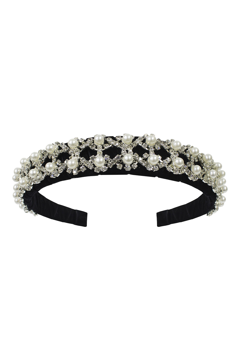 black velvet pearl hair band